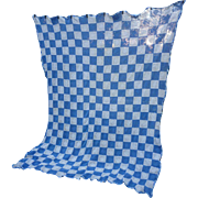 Blue and White Quilt Blocks Crochet Bedspread