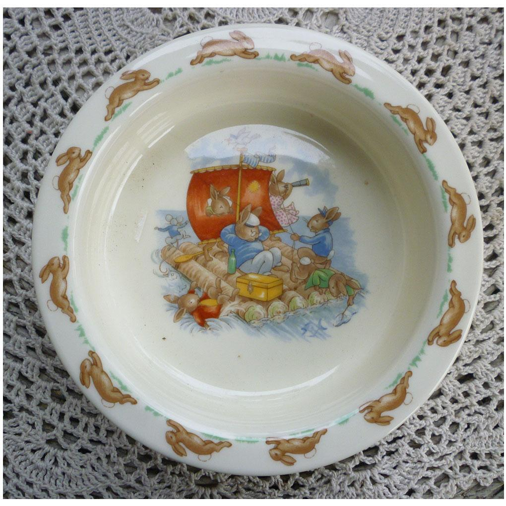 Royal Doulton Bunnykins Baby Bowl Albion Shape Bunnies on a Raft