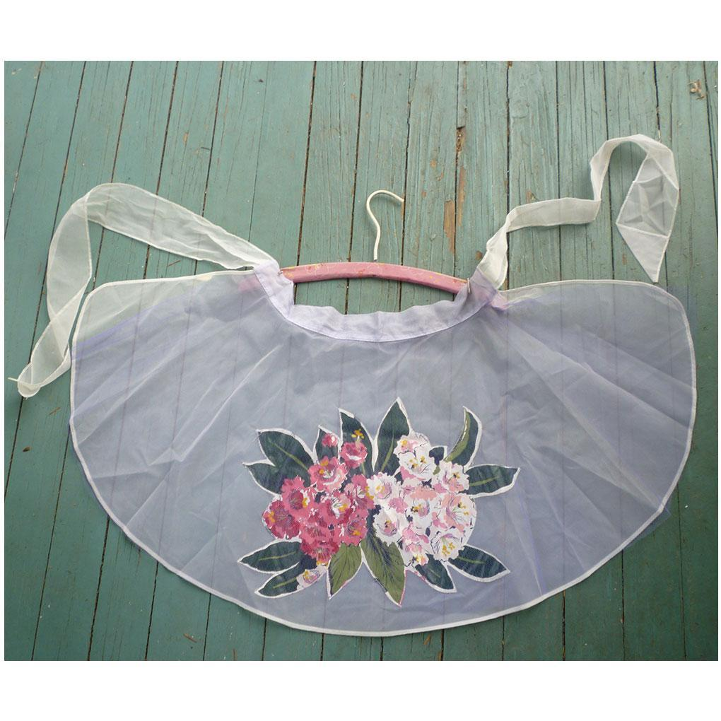 Pretty Floral Applique Print Net and Sheer Vintage Apron