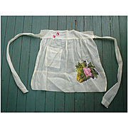 Pretty Rose in Flower Basket and Cherries Applique Sheer Vintage Apron