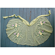 Pretty Floral Embroidered Sheer Yellow Vintage Apron