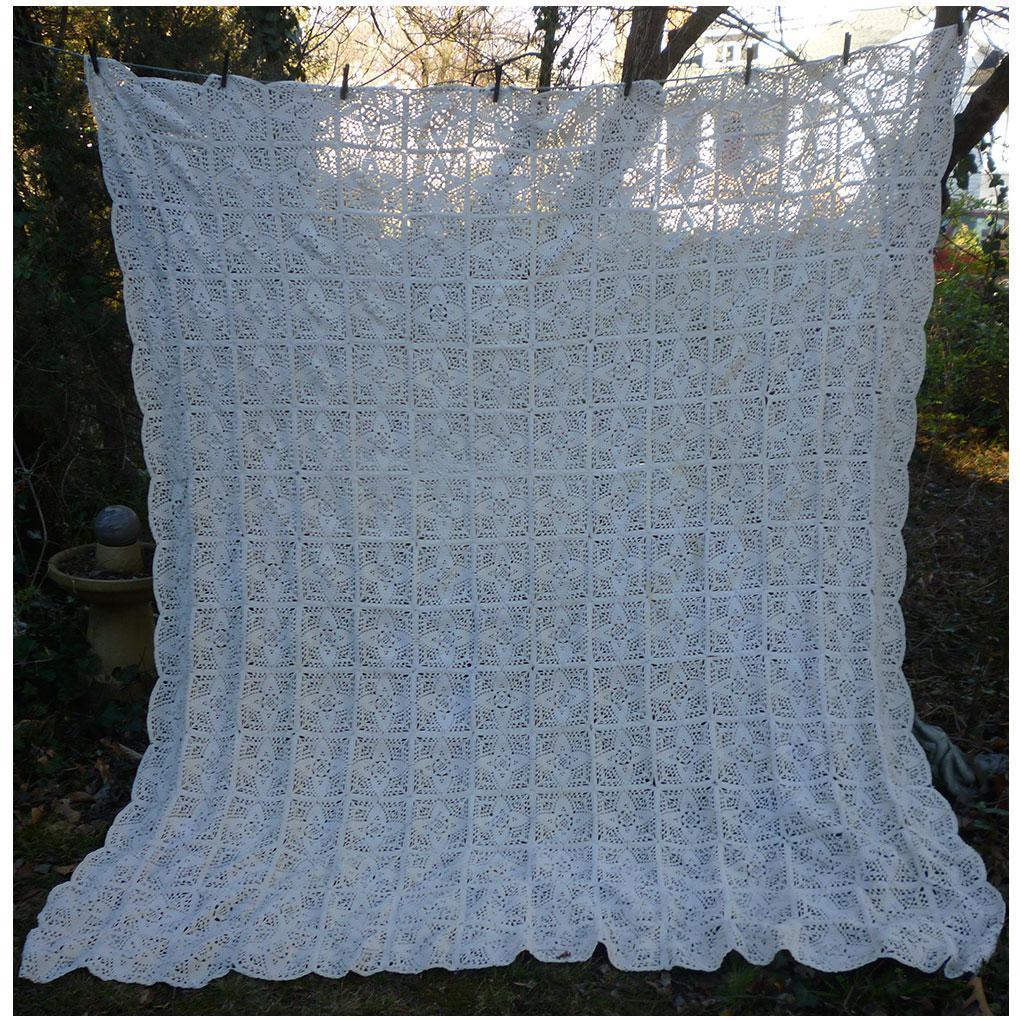 Beautiful Fancy White Quilt Blocks Crochet Bedspread