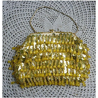 Sparkling Golden Yellow Beaded and Sequins Satin Evening Bag Swinging Dangles Pattern