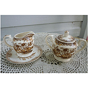 Gold Fruit Brown Aesthetic Transferware Cream and Sugar Set