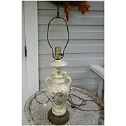 Ornate Floral Ceramic Table Lamp with Gold Trim