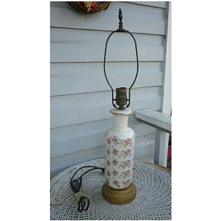Chintz Roses Ceramic Table Lamp with Gold Trim