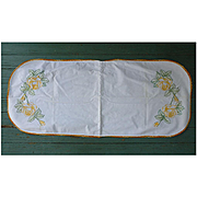 Embroidered Yellow Roses and Crochet Edging Runner