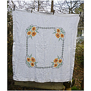 Lovely White Linen with Embroidered X Stitch Golden Flowers Tablecloth