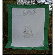 Embroidered Colorful Flower Basket Summer Coverlet