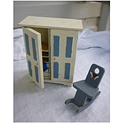 Blue and Whited Painted Dollhouse Armoire and Rocking Chair