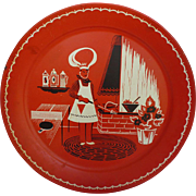 1950's Marcelline Stoyke Red Tin BBQ Platter Tray with Chef BBQ and Ping Pong Table