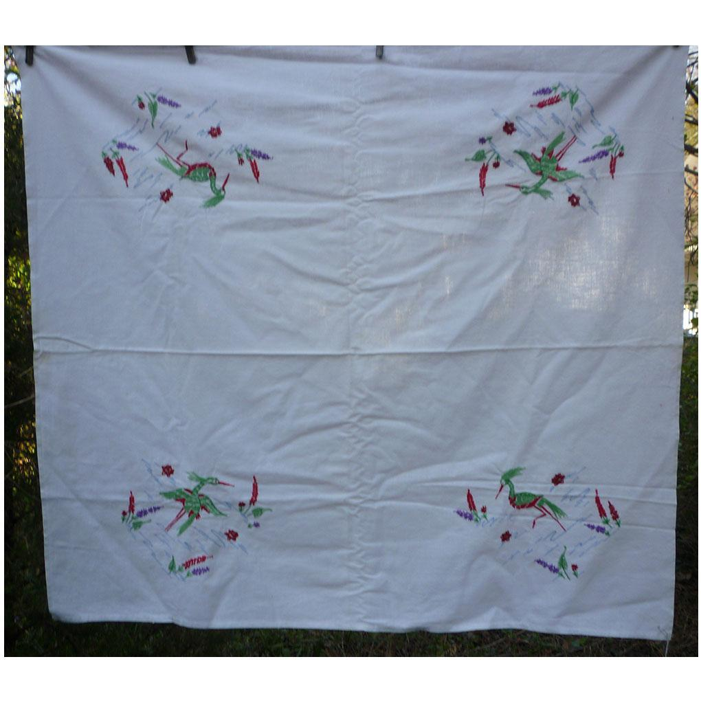 Tropical Wading Birds and Water Lilies Embroidered Tablecloth