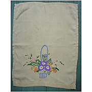 Exquisite Embroidered Flower Basket Guest Towel