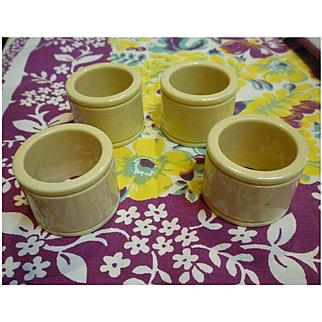 Elegant Cream Celluloid Napkin Rings Set of 4
