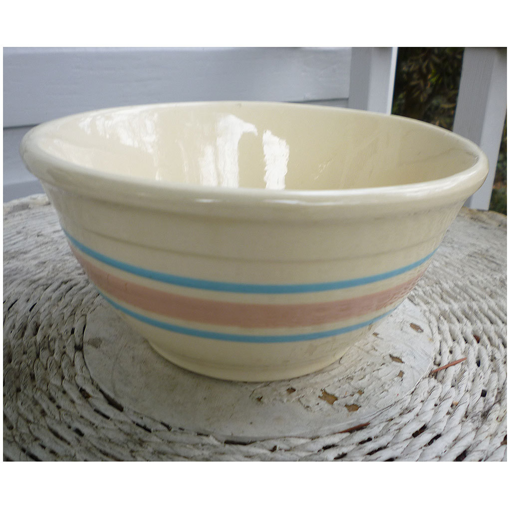 Vintage 60s 70s Mccoy Mixing Bowl Pink And Blue Stripe