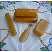 Vintage Butterscotch Wood Grain Celluloid 5 Piece Travel Set
