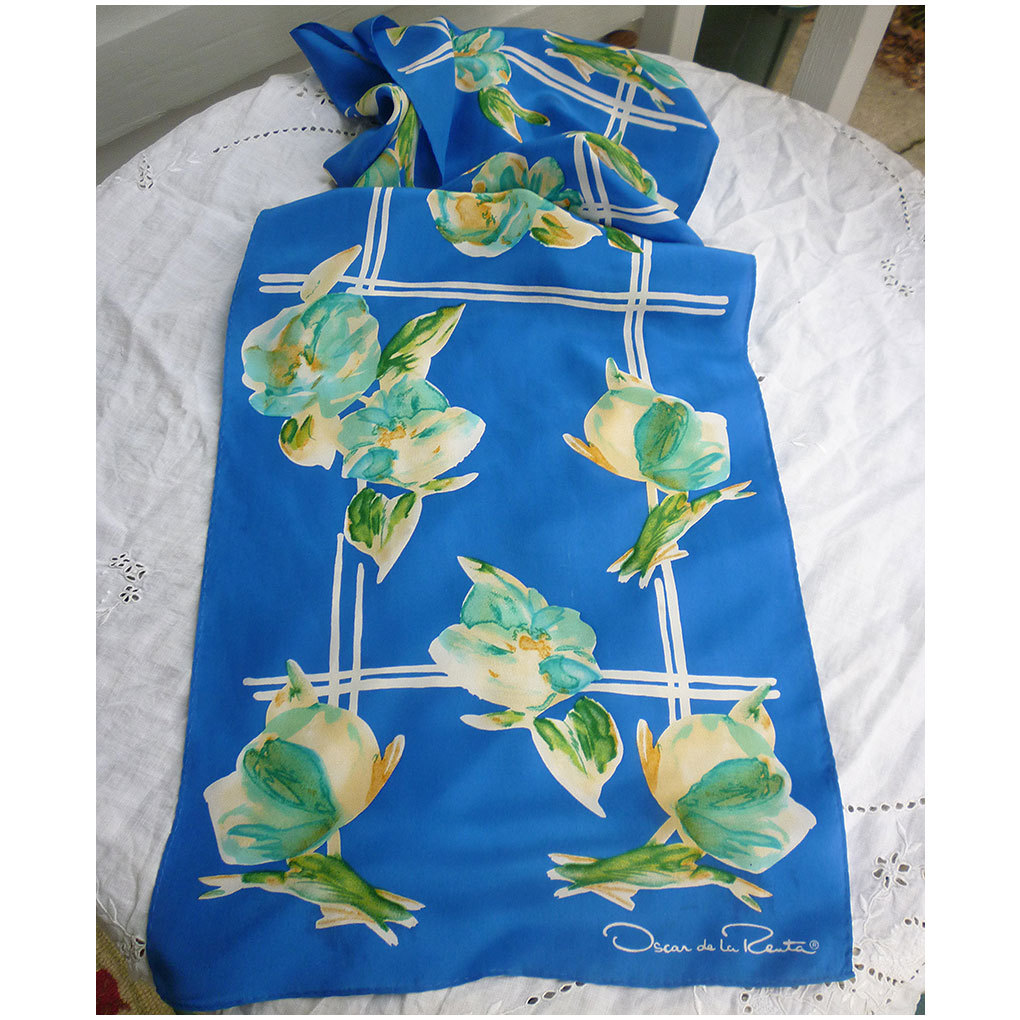 Oscar de la Renta  Cream Blue Green Flowers on Blue Silk Scarf