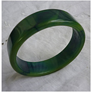 Deeply Fabulous Blue Moon Bakelite Bangle Bracelet