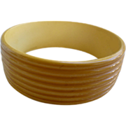 Carved Cream Corn 7 Bands Bakelite Bangle Bracelet