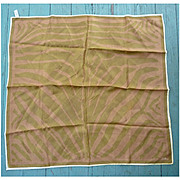 Vintage Vera Shimmering Golden Cream Copper Leaf Shapes Scarf