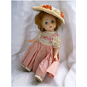 Madame Alexander 8 Inch Alexander-kins Wendy BKW Doll in Cute Dress and Straw Hat