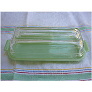 Fire King Jadeite Butter Dish with Clear Lid