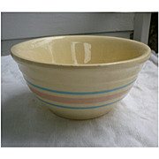 Vintage 1960s 70s McCoy Mixing Bowl Pink and Blue Stripe Stonecraft 7 Inch Bowl
