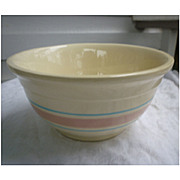Vintage 1960s 70s McCoy Mixing Bowl Pink and Blue Stripe Stonecraft 108  8 Inch Bowl