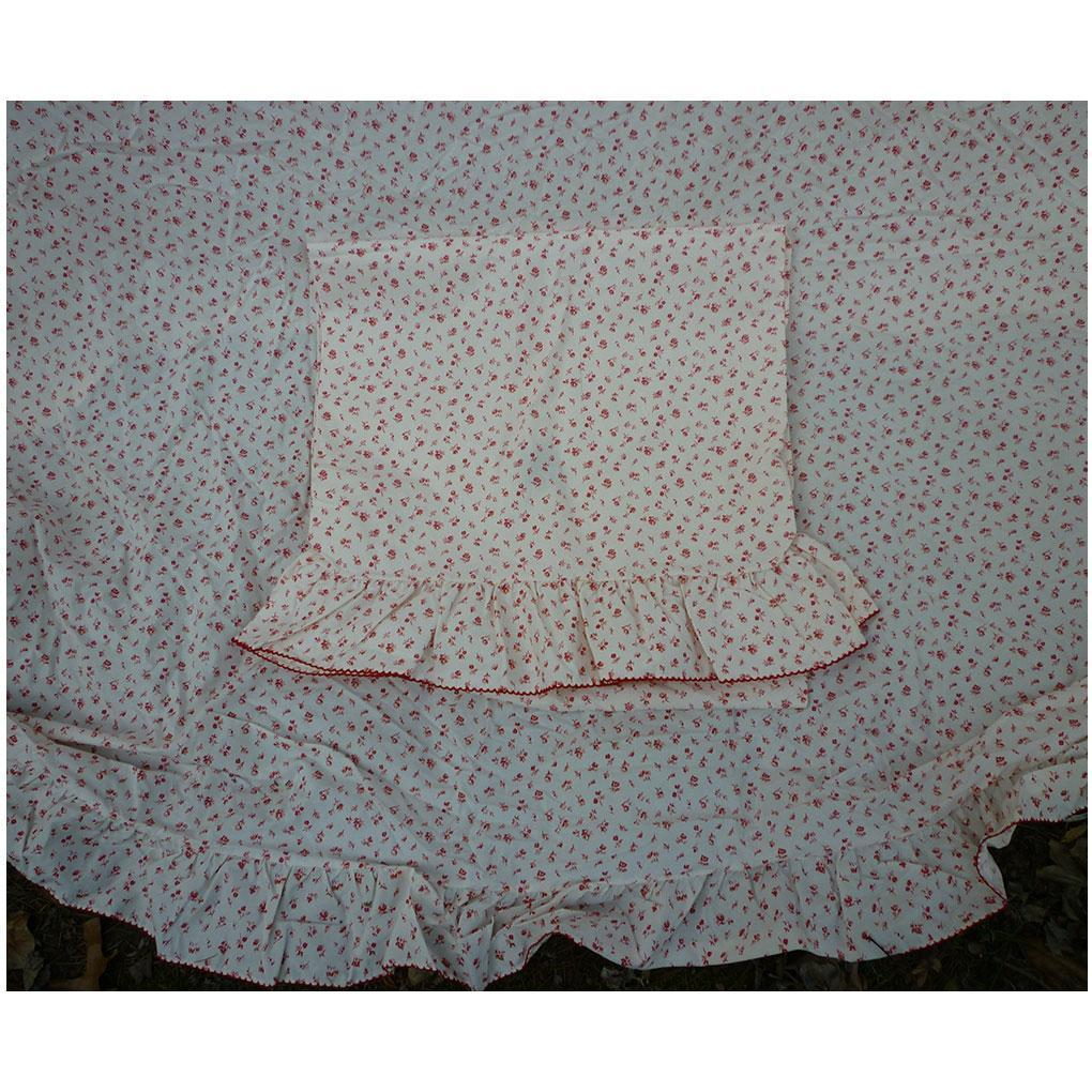 Vintage Red and White Tiny Floral Shabby Chic Duvet Cover Pillowcases and Bolster Set