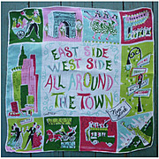 East Side West Side NY Vintage 50s Carl Tait Handkerchief
