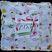 Vintage 1953 Colorful Calendar Handkerchief