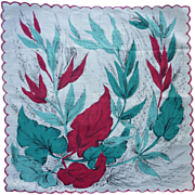 Vintage 1950s Large Red and Green Leaves Delicate Detail Handkerchief