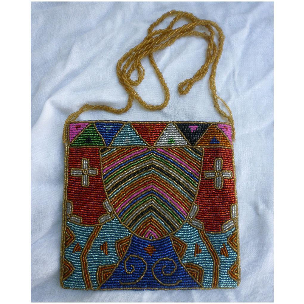 Colorful Ethnic Look Beaded Purse Long Shoulder Strap