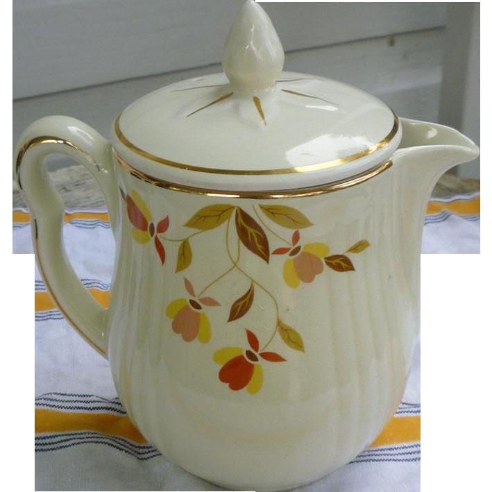 Hall Jewel Tea Autumn Leaf Coffee Pot With Lid From