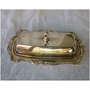 Vintage Poole Silver Co. Old English No. 5011 Silver Plate Butter Dish with Glass Tray Insert