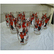Set of 8 Tumblers Printed Red and Black Oriental Man and Woman in Asian Scene