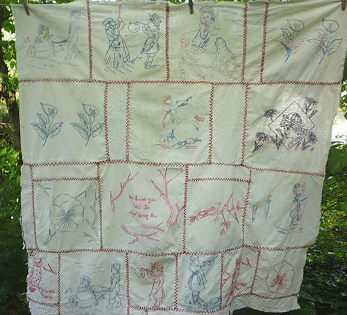 How Sweet Penny Square Red Work Embroidered Child's Quilt Top