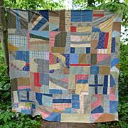 Geometric Crazy Quilt Top 1900's Cotton Fabrics