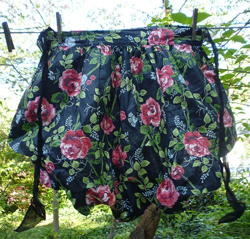 Pink Roses on Black Polished Chintz with Organdy Vintage Apron