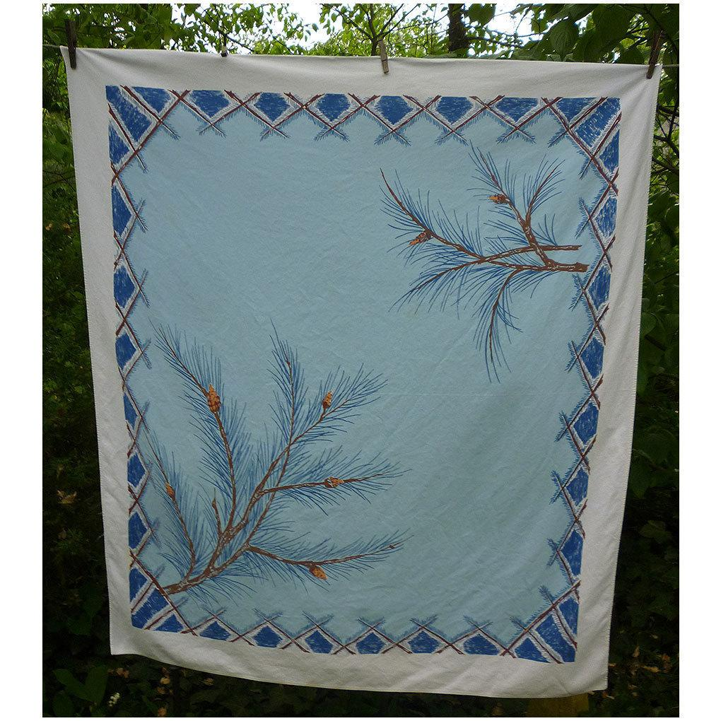 Big Blue Sky Pine Branches Print 50's Tablecloth