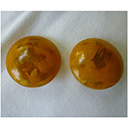 Butterscotch and Translucent Yellow Swirl Lucite Disc Earrings