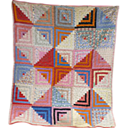 Pioneer Block Log Cabin Pattern Patchwork Quilt Comfort Pink Backing