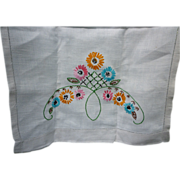 Embroidered Daisies Pink Orange Aqua Yellow Green Leaves Linen Runner
