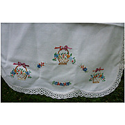 Embroidered Dainty Flower Baskets White Crochet Edging Runner