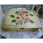 Chippy Peely Floral Hand Painted Cottage Chic Hinged Box