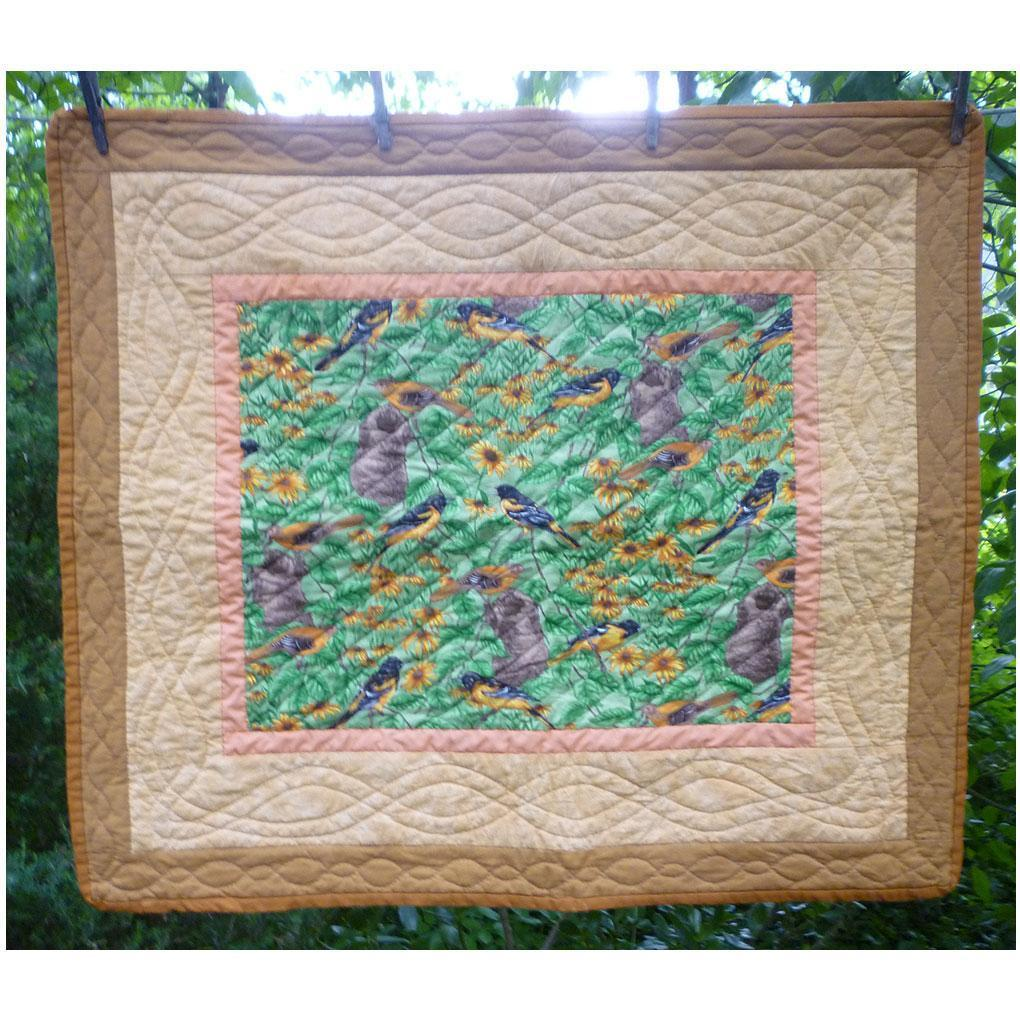 Baltimore Orioles Birds and Flowers Lap Quilt