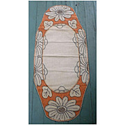 Coral and Black Flowers Arts & Crafts Embroidery Linen Oval Runner or Centerpiece