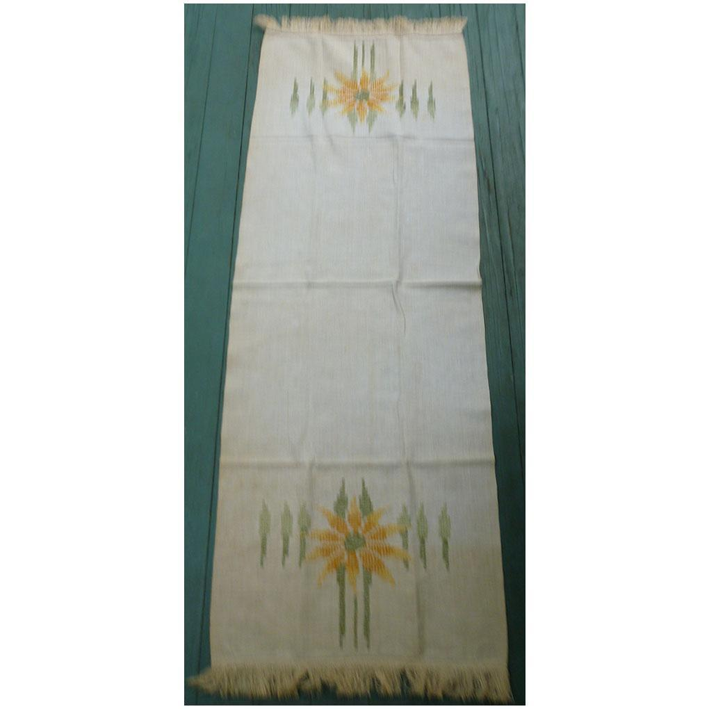 Yellow Sunflowers and Green Stalks Arts & Crafts Embroidery Large Linen Runner
