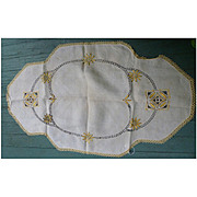 Yellow Flowers and Openwork Arts & Crafts Embroidery Large Elaborate Linen Runner or Centerpiece