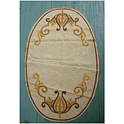 Golden Yellow Orange Brown Lyre Scrolls Arts & Crafts Embroidery Linen Oval Centerpiece